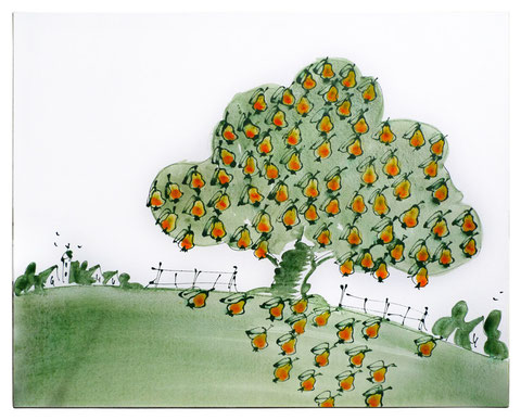 """Ribbecker Birnen"", Acryl auf Leinwand,  80 x 100 cm,  Verkauft"
