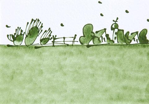 """""""Blick ins Land"""" Acryl auf Karton, Passepartout 50 x 40 cm. Das Bild ist verkauft."""