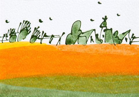 """Acrylfarbe """"Havellandwiese"""", auf Leinen, 50x40 cm. Das Bild ist verkauft."""