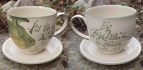 Milchkaffeetasse XXL, mit Untertasse | 24,50 €, (Vorder/Rückseite)