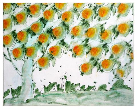 """Ribbecker Birnen"", Acryl auf Leinwand,  80 x 100 cm, verkauft."
