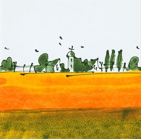 """""""Blick ins Land"""" Acryl auf Karton, Passepartout 30 x 30 cm. Das Bild ist verkauft."""