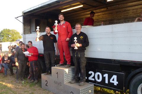 Platz 1: Dustin Hahn, Oktanfreakz, Platz 2: Bastian Wicher, Oktanfreakz, Platz 3: Friedhelm Gotthard, Citroen AX