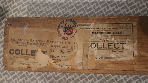 Electrobug oak case with shipping label To American Railway Expresso Co.   date AUGUST 1928