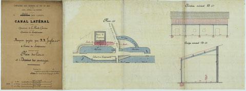 Plan du moulin avec rajout d'une marquise.