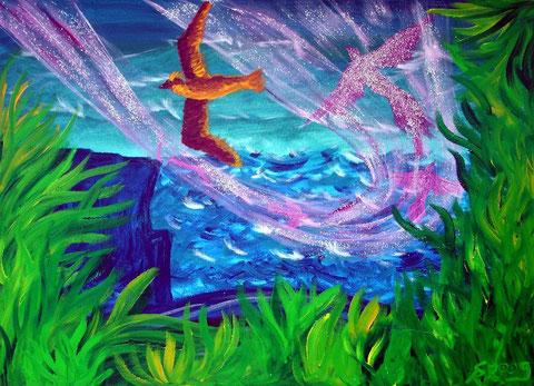 Feuervogel, 2009 (Acryl auf Leinwand, 50x70)
