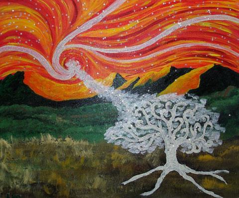 Heiliger Baum, 2006 (Acryl auf Leinwand, 40x60)