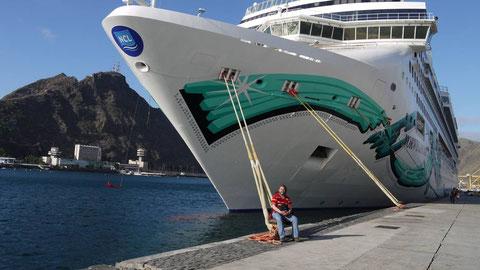 Der Chef mit seiner Yacht
