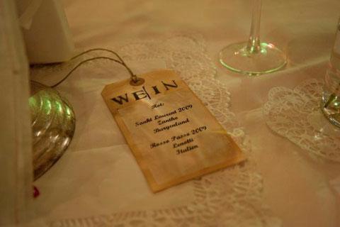 Nostalgie-Hochzeit Weinkarte Christine Hohenstein