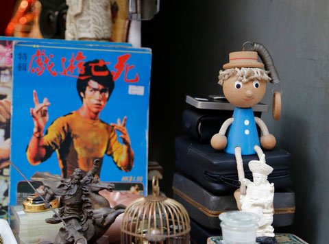 Jackie & Pinocchio, flea market, Hongkong