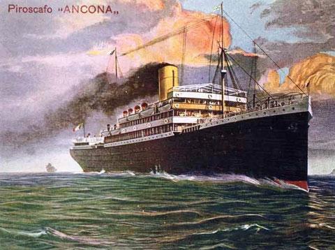 SS Ancona (Italia Line), contemporary postcard