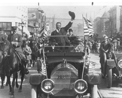 President Theodore Roosevelt, popular with immigrant voters, campaigning in Los Angeles in 1912 (Los Angeles Times, January 15, 1998 / July 4, 2013).