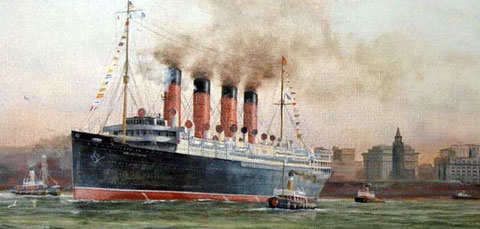 Mauretania leaving Liverpool (contemporary painting)