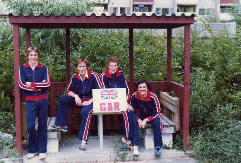 1978 Jonkoping: Great Britain's Junior team: Chris Humpage, Xan Brodie, Rick Phelps and David Spencer