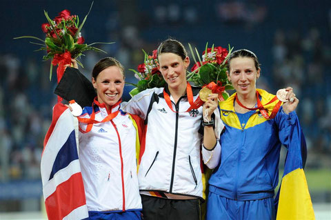 2008 Beijing: Heather Fell (GBR), Lena Schoneborn (GER) and Victoria Tereshuk (UKR) take the medals