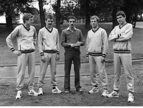 1982 London: Great Britain's Junior Bronze medallists -Phelps, Tayler, May and Royston with manager, Martin Dawe