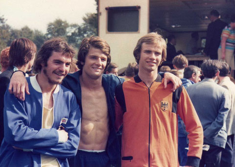 1974 Moscow: Junior run winners Danny Nightingale (GBR), Mike Burley (USA) and Volker Jenniches (FRG)