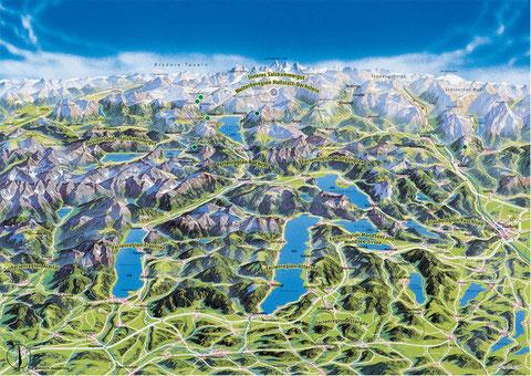 Panoramakarte Salzkammergut