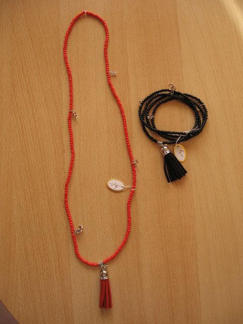 Modèle 5 : sautoir transformable en bracelet : 6 euros.