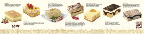 Bienenstich, Obstschnitte, Apfel-Mandelschnitte, Flockenschnitte, Quark-Mandarinenschnitte, Donauwelle, Mohnschnitte, Himberschnitte, ...