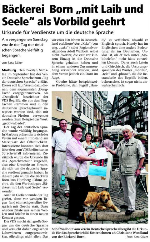 Artikel Oberhessische Presse vom 13.09.2011