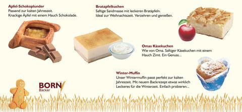 Apfel-Schokoplunder, Bratapfelkuchen, Omas Käsekuchen, Winter Muffin