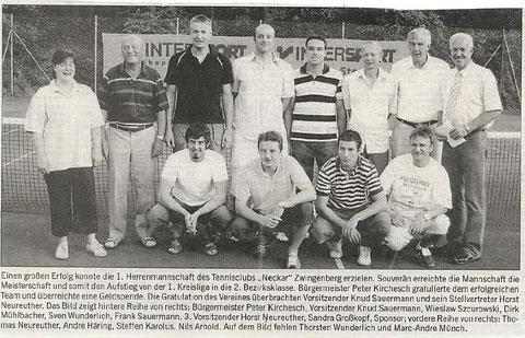 Zeitungsartikel RNZ wegen Aufstieg 1. Mannschaft