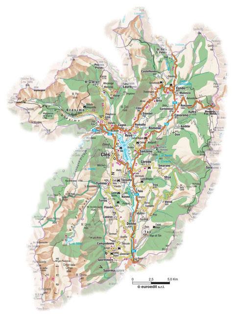 Cartina Val di Non
