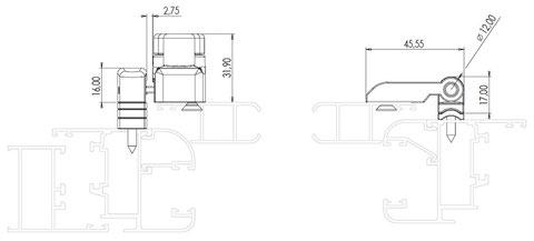 Esquema instalación bisagras para contraventanas interiores