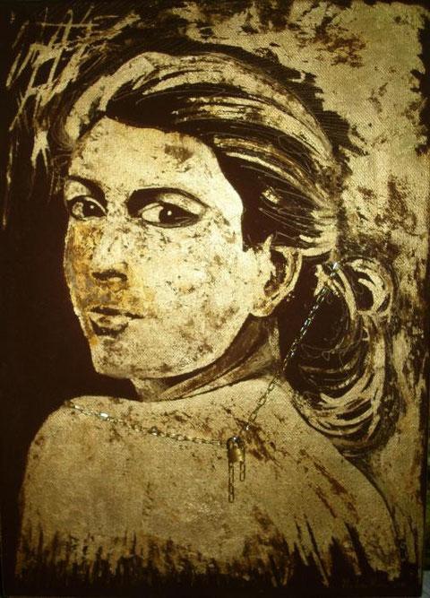 La Neve  Marcello – Amore Platonico  - tecnica mista tela - 50 X 70 - 2011 olio e foglia oro su tela