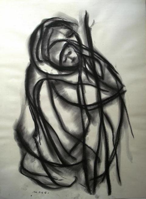 Masri Hayssam - Ommi biladi - grafite carta - 50 X 70