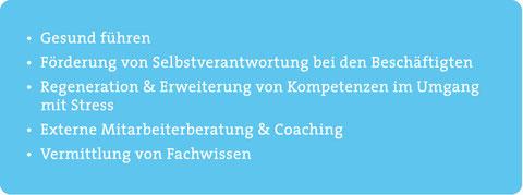 Gesund führen, Förderung von Selbstverantwortung bei den Beschäftigten, Regeneration, Erweiterung von Kompetenzen im Umgang mit Stress, Externe Mitarbeiterberatung und Coaching, Vermittlung von Fachwissen