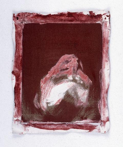 Hommage à Andrea Mantegna (Christ mort, 1506, Milan), 1992, Jeu d'enduit et colle de peau sur toile agrafée sur un châssis de 30 x 24 cm et débordant de 2 à 3cm sur le pourtour, Collection particulière, Paris, France