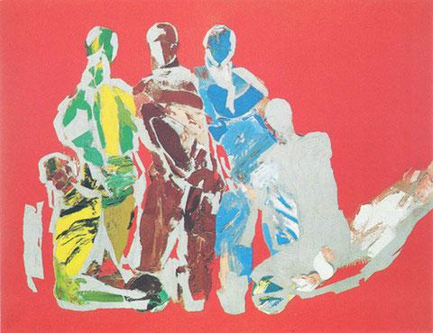 Regroupés sur fond rouge, 1982, Huile sur toille, Collection particulière, Paris