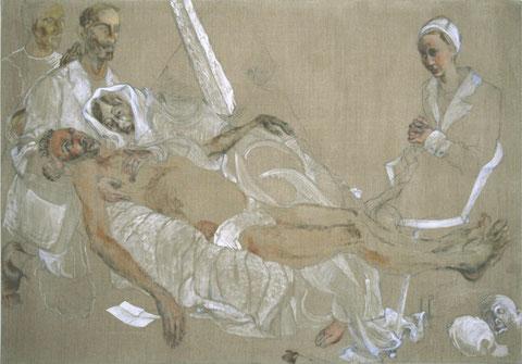 """Hommage à Rogier van der Weyden, """"Mollusques et vertébrés, 2001-2002, Colle de peau, dessin à la mine de plomb, jeu d'enduit acrylique et huile sur toile, 140 x 200 cm"""