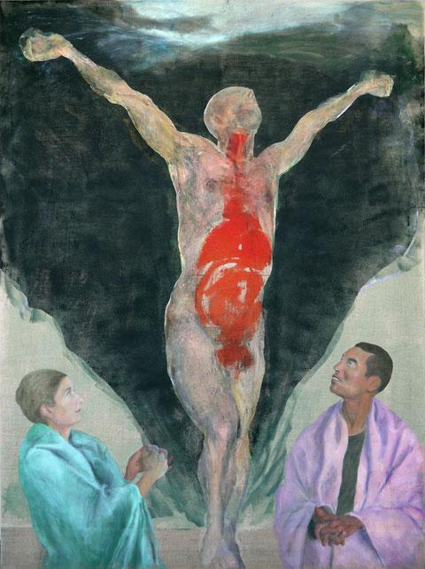 """Hommage à Matthias Grünewald, """"Dans la main de Grünewald"""", Version 1, 2004-2020, Huile et colle de peau colorée sur toile de lin 207 x 153cm"""