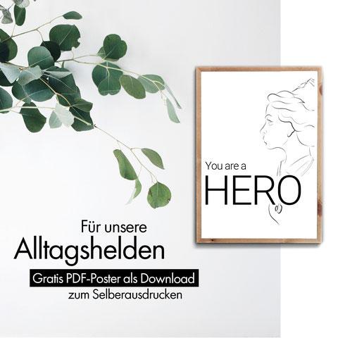 4onepictures - hero - alltagshelden - gratis - digital download - pdf - selber ausdrucken - schwarz weiß - danke - krankenschwester - corona - zusammenhalten - solidarität - ärzte - geschenkidee