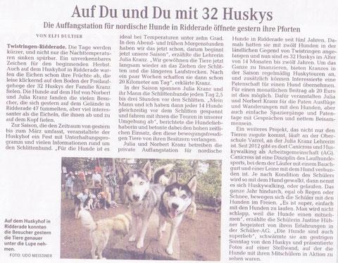 Zum vergrößerten Lesen bitte anklicken! Quelle: Weserkurier (23.09.2013)