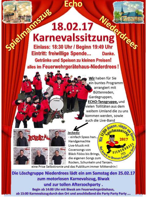 Spielmannszug Echo Niederdrees Karneval Sitzung 2017
