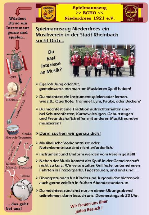 Mitgliederwerbung Interesse am Spielmannszug / Tamboukorps in RheinbachNiederdree