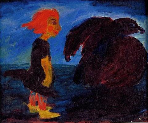 Petite fille avec un oiseau noir (Emil Nolde)