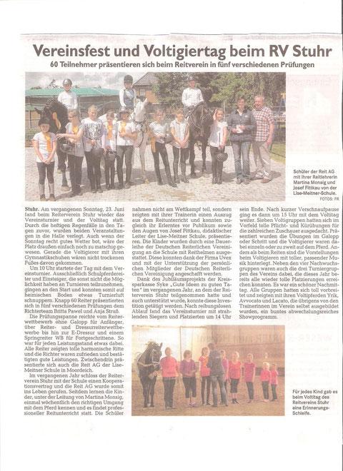 """Vereinsturnier + Voltitag 23.06.2013 Artikel Weser-Kurier """"Mein Verein"""""""