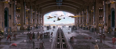 The battle in the Theed hangar