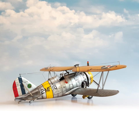 "F1 ""Friendly With Clouds"" in A2  serving a 48th scale AccMin Grumman F3F-2. Light Source: Daylight. Backdrop: Item #F1 ""Friendly with Clouds"""