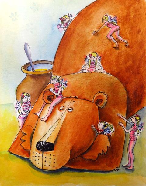 Der dicke, große Bär liegt mit untergeschlagenen Armen neben seinem Honigtopf und die Elfe umsorgt ihn liebevoll. Krault ihm das Ohr, den Nacken, den Oberarm, die Wange. Märchenhaft.