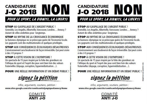 20 Février 2009 - Tract non aux JO Annecy 2018 - 2xA5 NB