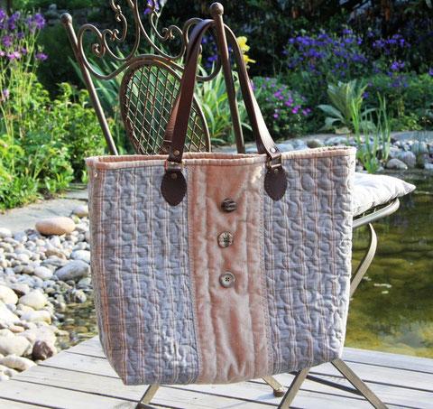Madame Marie, Aus meinem Atelier, Taschen, Lea, sportlich schlichte Tasche, Baumwollstoffe, Lederhenkel