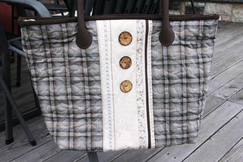 Madame Marie, Aus meinem Atelier, Taschen, Alma, Einkaufstasche mit Reissverschluss oben, Trachtenknöpfen, Baumwollstoff
