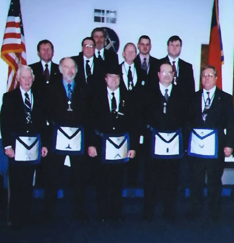 Phoenix Lodge Officer Line for 1998.  Michael Hawks, WM; Robert Nunes, Secretary; Bill Ivey, Sr., Senior Steward; Bill Ivey, Jr., Junior Steward.