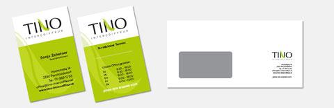 Corporate Design - Beispiel Visitenkarten und Kuvert Tino Intercoiffeur